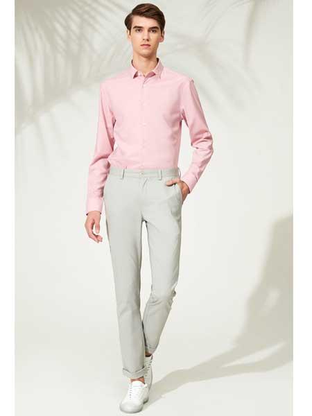 忘不了男装品牌2020春夏新款高领粉色打底衫
