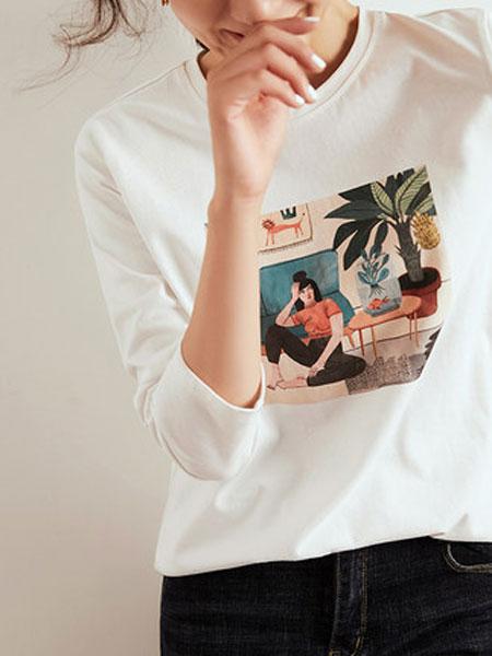 尚都比拉2020女装新款春时尚圆领纯棉印花长袖T恤打底衫女内搭