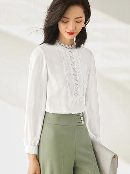 尚都比拉2020年春装新款欧洲站洋气小衫气质蕾丝花边白色雪纺衬衫