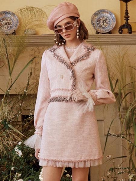 威杰思-VJC女装品牌2020春夏新款纯色毛呢气质连衣裙