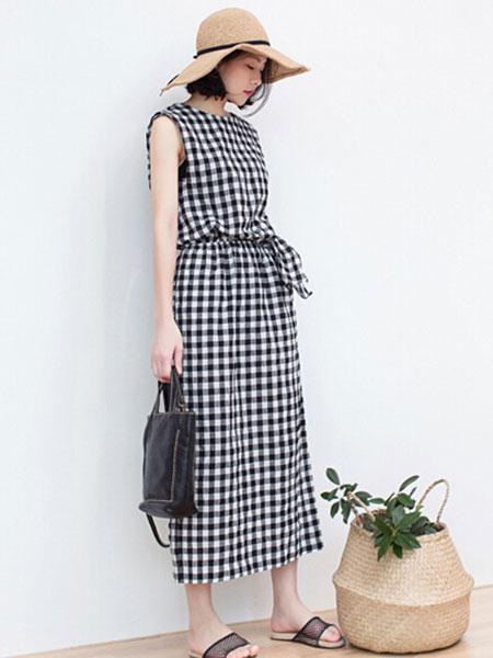 LIULIU MO刘刘墨女装品牌2020春夏新款无袖千鸟格气质连衣裙