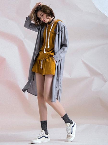 无轨女装品牌2020春夏新款纯色长款针织开衫
