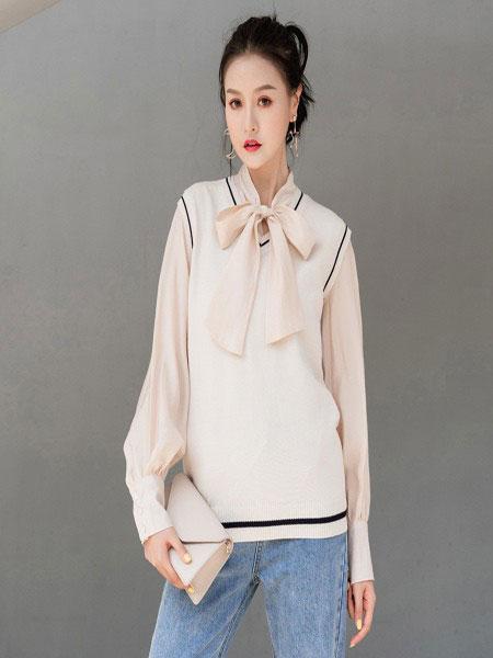 B P(Bella Party)女装品牌2020春夏新款纯色透纱蝴蝶结上衣