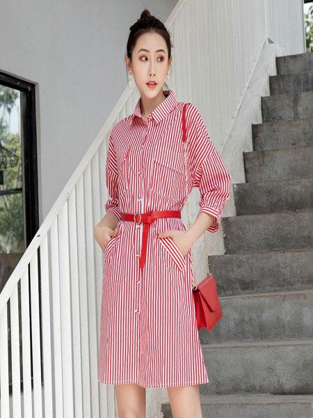 B P(Bella Party)女装品牌2020春夏新款纯色条纹气质连衣裙