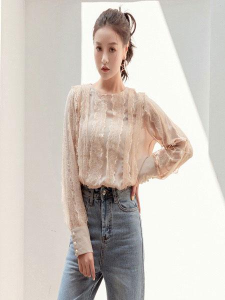 B P(Bella Party)女装品牌2020春夏新款纯色蕾丝缕空性感上衣