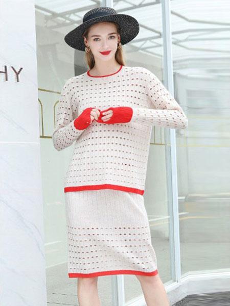播妍女装品牌2020春夏新款纯色针织长袖连衣裙