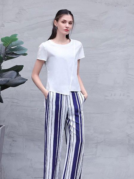 言苼记女装品牌2020春夏新款纯色简洁针织短袖上衣