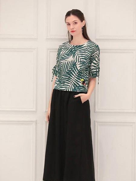 言苼记女装品牌2020春夏新款纯色碎花气质短袖上衣