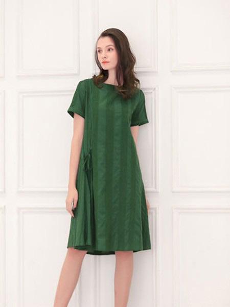 言苼记女装品牌2020春夏新款纯色条纹气质连衣裙