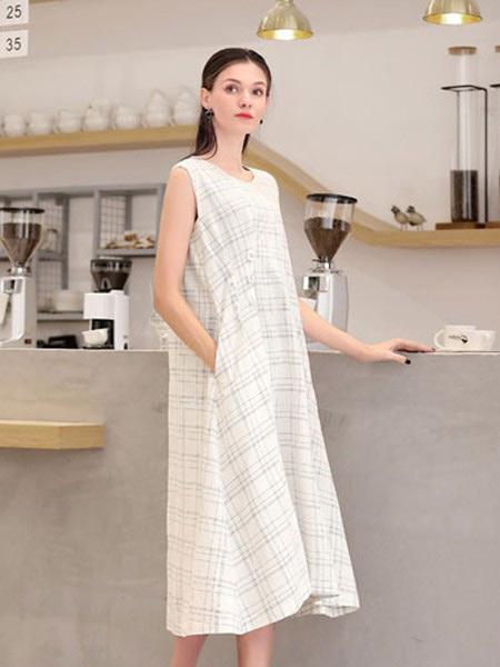 言苼记女装品牌2020春夏新款纯色无袖气质连衣裙