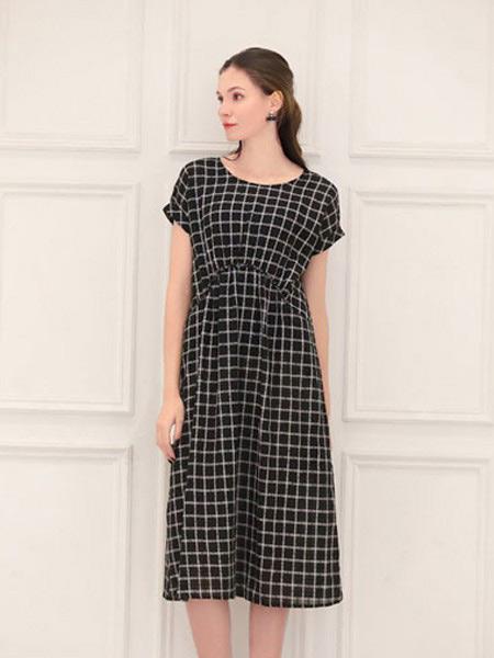言苼记女装品牌2020春夏新款纯色千鸟格气质连衣裙