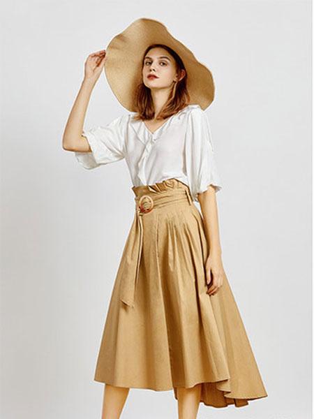 简约风情女装品牌2020春夏新款纯色腰带式半身裙