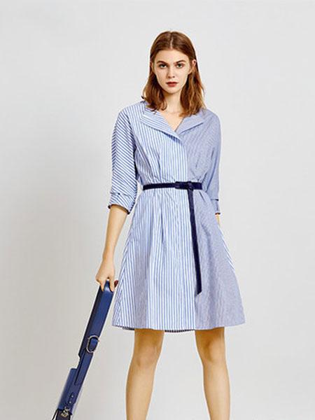 简约风情女装品牌2020春夏新款纯色系带式纽扣连衣裙