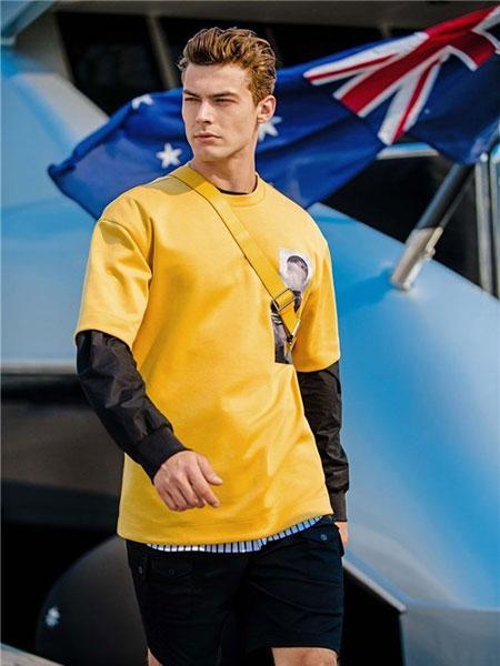 赫基男装品牌2020春夏新款纯色假两件简洁上衣