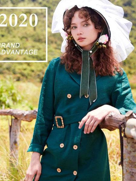 YANGER女装品牌2020春夏新款纯色气质长袖连衣裙