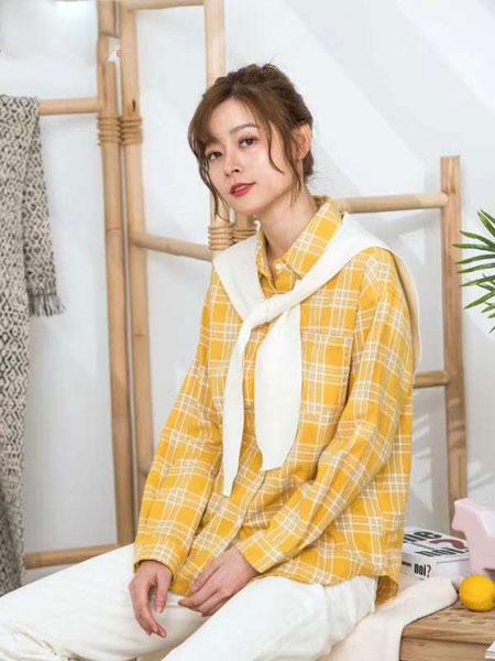 ISSUE亦抒女装品牌2020春夏新款纯色格子立领气质衬衫