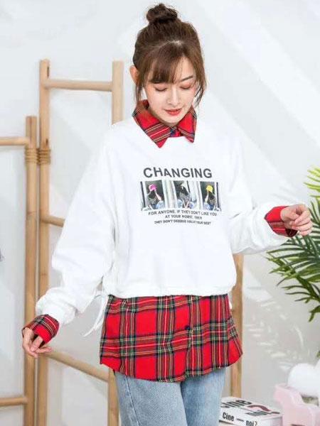 ISSUE亦抒女装品牌2020春夏新款纯色图案长袖上衣