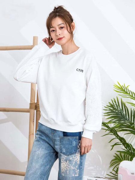 ISSUE亦抒女装品牌2020春夏新款纯色简洁印字卫衣套头衫