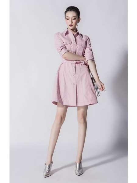 JA女装品牌2020春夏新款高领粉色连衣裙