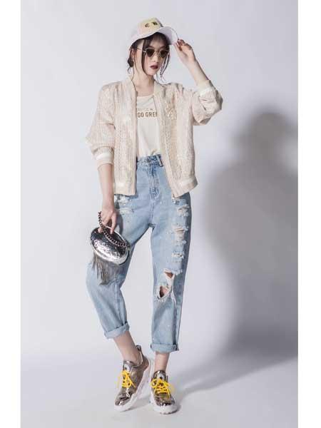 JA女装品牌2020春夏新款潮流破洞牛仔裤