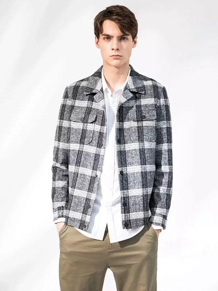 积上风尚男装品牌2020春夏新款纯色格子翻领长袖衬衫