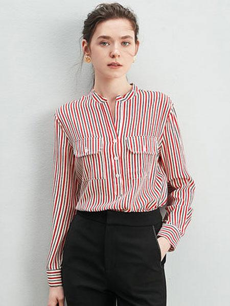 ZIMMUR2020新款小衫竖条纹上衣女立领套头衬衫气质印花桑蚕丝衬衣