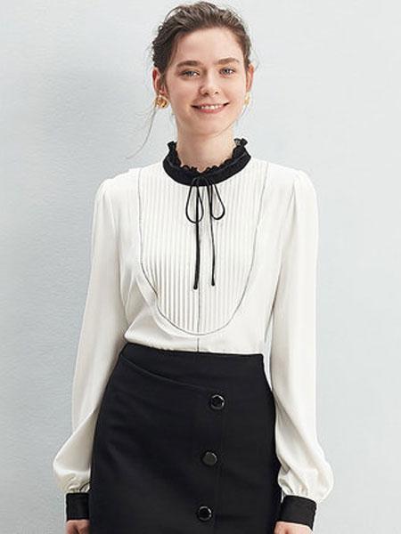 ZIMMUR2020春小衫女灯笼袖荷叶领立领套头衬衫立领套头衬衣加背心