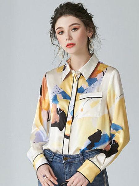 ZIMMUR方领法式2020年春款女装上衣印花桑蚕丝真丝花衬衣艺术衬衫