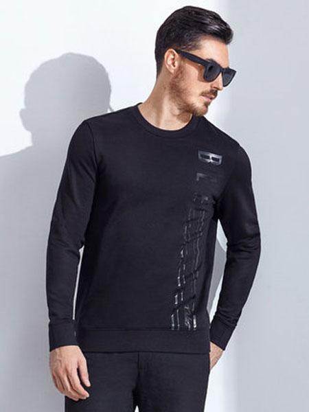 Brloote/巴鲁特户外休闲 运动黑色圆领修身卫衣外套男 2020春装