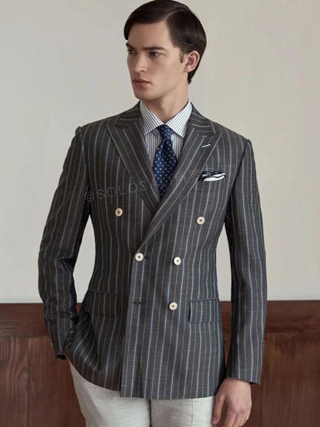 SOLOSALI所罗服装定制品牌2020春夏新款纯色纽扣气质商务风格西装定制