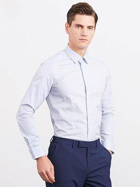 Satchi/沙驰2020春季新款男士商务衬衫正装长袖衬衫