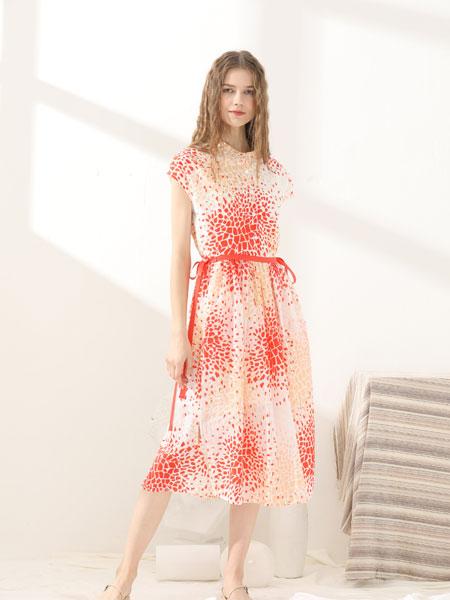 芊伊朵女装品牌2020春夏新款纯色碎花连衣裙