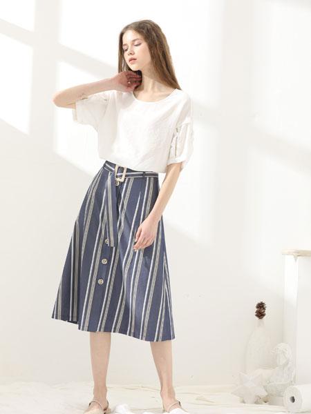 芊伊朵女装品牌2020春夏新款纯色气质简洁半身裙