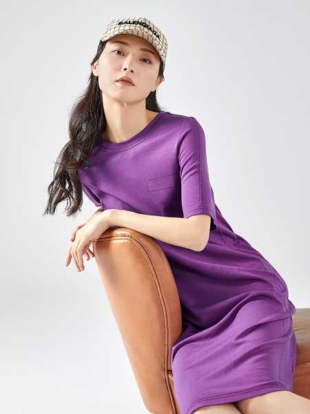 艾莱依女装品牌2020春夏新款简约显瘦连衣裙女圆领中长裙子