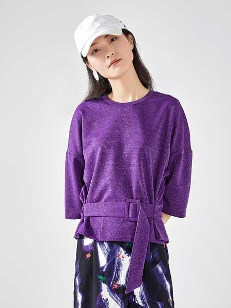 艾莱依女装品牌2020春夏新款OL风收腰T恤女宽松质感系带上衣