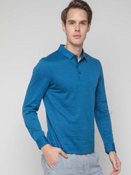 圣得西男士短袖T恤衫2020年夏季新款孔雀蓝翻领t恤男短袖含桑蚕丝