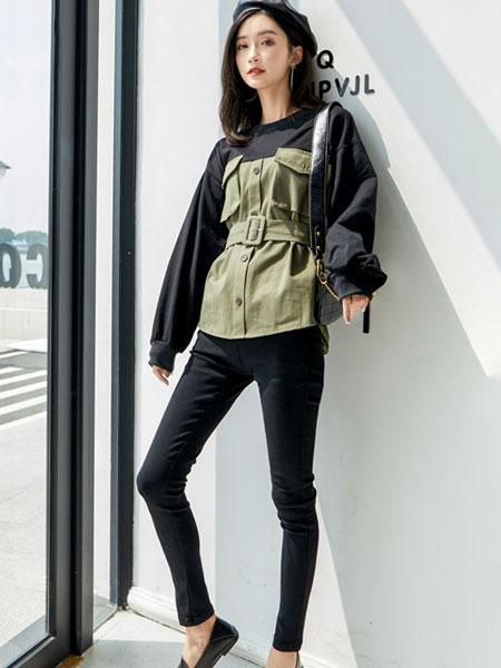 芊伊朵女装品牌2020春夏新款纯色假两件气质上衣