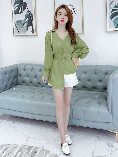 芊伊朵女装品牌2020春夏新款纯色v领气质上衣衬衫