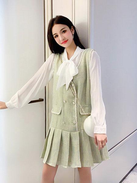 芊伊朵女装品牌2020春夏新款纯色气质连衣裙