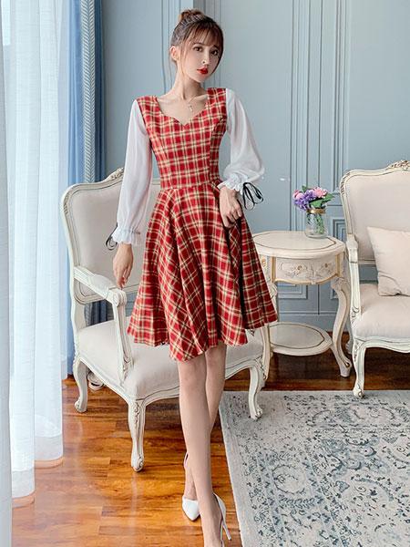 芊伊朵女装品牌2020春夏新款纯色格子气质连衣裙