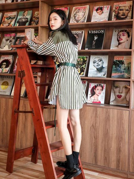 芊伊朵女装品牌2020春夏新款纯色条纹气质连衣裙