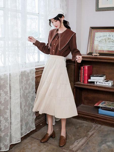 芊伊朵女装品牌2020春夏新款纯色简洁半身裙