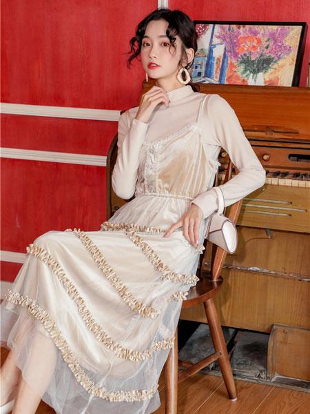 芊伊朵女装品牌2020春夏新款纯色透纱气质连衣裙