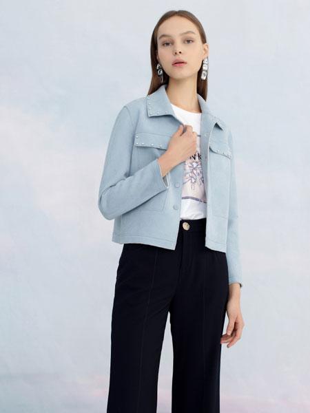 圣可尼女装品牌2020春夏新款纯色毛呢气质夹克