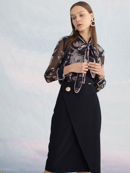 圣可尼女装品牌2020春夏新款纯色碎花透明性感上衣