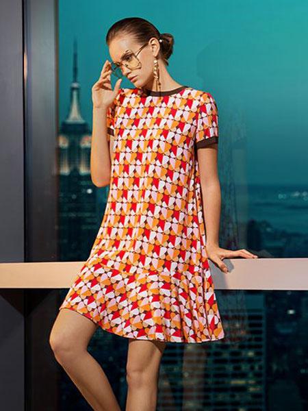添姿女装品牌2020春夏新款纯色碎花气质连衣裙