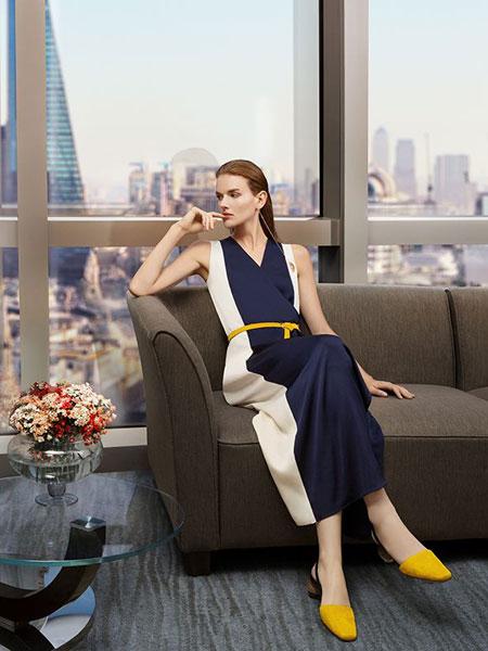添姿女装品牌2020春夏新款条纹气质连衣裙