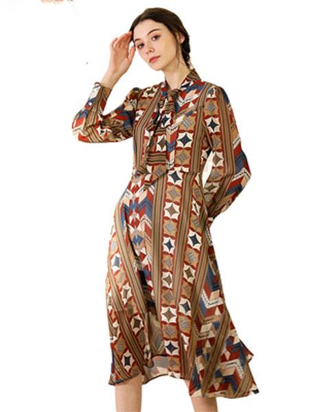TYZEE连衣裙2020春秋新款女装个性设计感几何印花收腰显瘦裙子