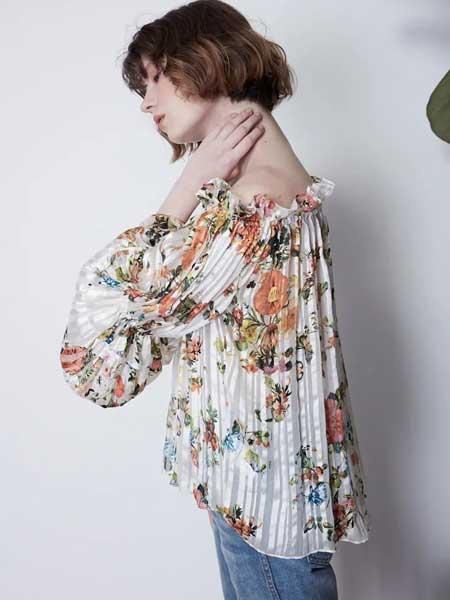 GRANDUCA女装女装品牌2020春夏新款纯色碎花露肩性感上衣