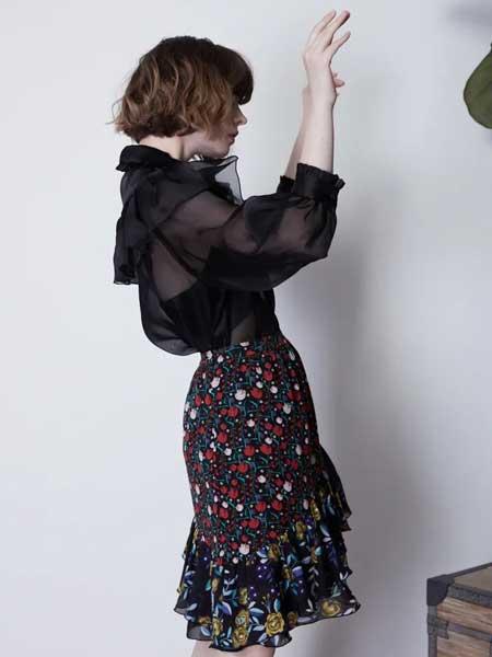 GRANDUCA女装女装品牌2020春夏新款纯色蕾丝透纱碎花连衣裙